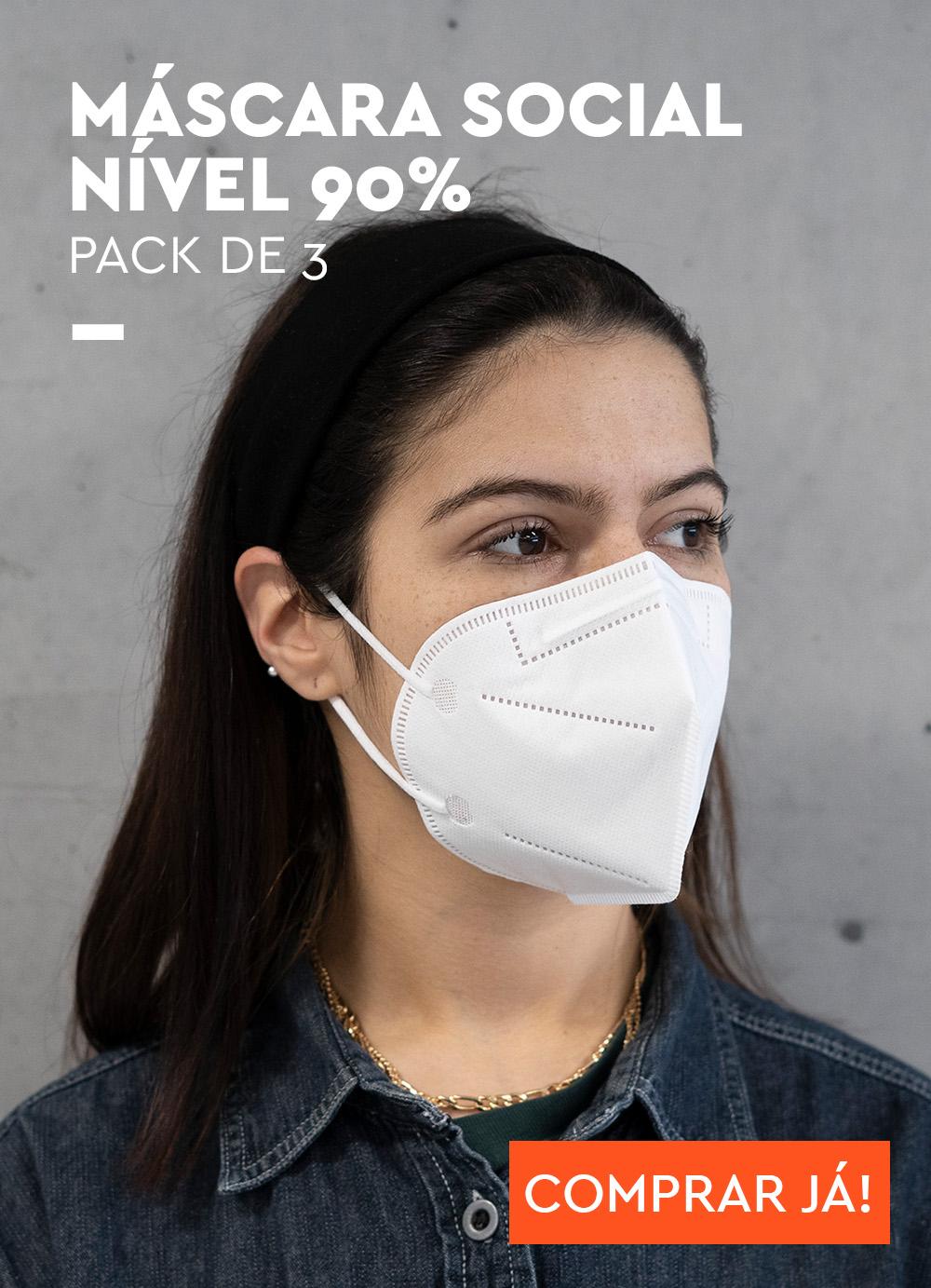 Máscara Social Nível 90% – Pack 3 Unidades
